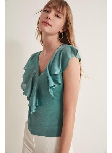 Join Us Volanlı Triko Bluz  Yeşil